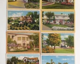 Vintage postcards, film stars homes, Homes of famous film stars.