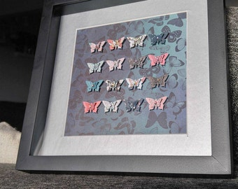 Jewel accent butterflies in 8x8 shadowbox frame