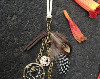 Dream Catcher Keychain - stone - Purse Charm - earthy - Key Chain - Small Dream Catcher - Boho Keychain - Hippie - Bohemian