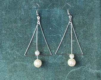 Pearl earrings Triangle earrings Drop and dangle earrings Simple earrings Handmade jewelry Round earrings Gift for her