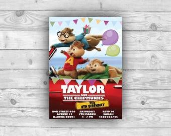 Chipmunks Birthday Invitation, Chipmunks Birthday Party Supplies, Chipmunks Party, Chipmunks Birthday