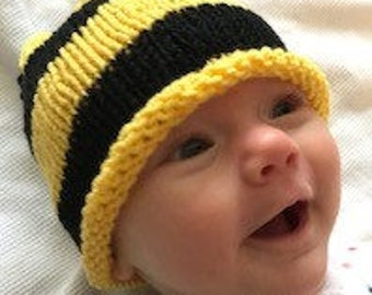Newborn knitted hat...bumblebee Cappi for June...free shipping