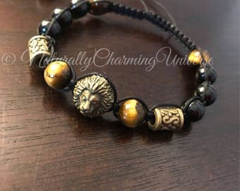 Black Jasper, Tigers eye, Macrame Bracelet