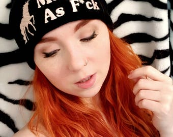Magical As F*ck AF Unicorn Winter Beanie Hat Embroidered