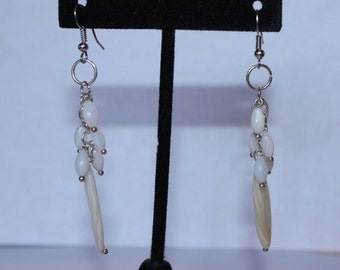 Dangly White Bead Earrings
