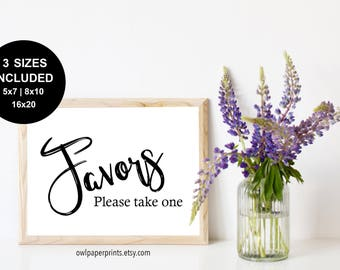 Favors, Please Take One Sign - Printable PDF, printer, printables, wedding, event, party, shower, birthday, gift, favours, favor