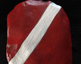 Dive Flag hand painted river rock