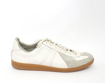 EU 46 - vintage German Army trainers - bw sport 295 white grey - Uk 11 / Man Us 11.5 / 12 - vintage sneakers - maison margiela line 22