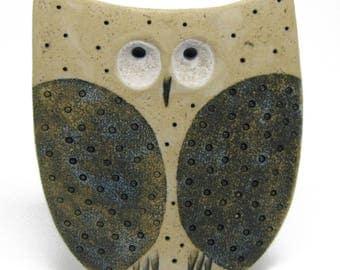 Ceramic Talisman Owl, Owl Good Luck, Owl Artistic, Modern Owl - Ceramic Owl Figurine, Owl Decor, Nature Lover Gift, Runes, Gift for Mom