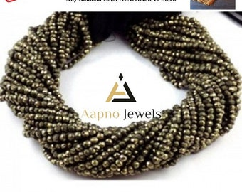 1 strand natural  pyrite beads, pyrite gemstone, 3.5-4mm pyrite beads, faceted pyrite, rondelle pyrite, pyrite necklace