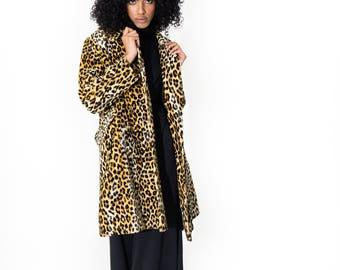 Vintage 60's Retro Spotted Leopard Faux Fur Coat Medium