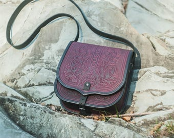 Leather messenger bag, purple leather bag, tooled leather, women's purse, crossbody bag, shoulder bag, purple unique bag, capacious purse