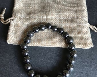 8mm Non Magnetic Synthetic Hematite Stretch Cord Bracelet