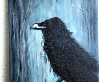 Raven: Acrylic on canvas, original no pressure!