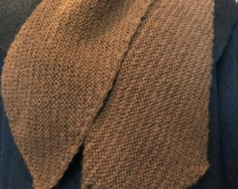Alpaca Hand-Knitted Scarf, Subtle Brown Stripes, Soft and Luxurious, Mens & Women's
