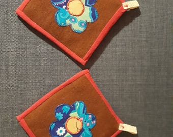 Two handmade decorative pot holders, oven mitts