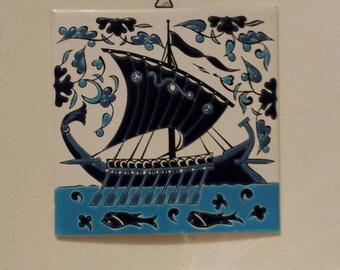 Vintage Ceramic Decorative Tile Rhodes Island Greece