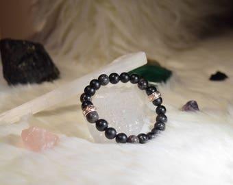 8mm Matte Black Onyx and Black Sea Sediment Jasper Beaded Bracelet