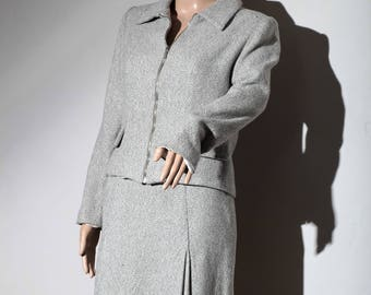 Set skirt and jacket 80's gray speckled T 42