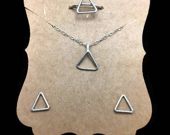 Sterling Silver Triangular Jewelry set