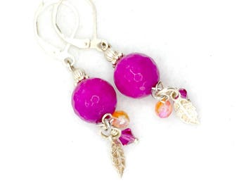 Hanging earring-pink-jade-silver feather-hippie style-Boho style-summer look