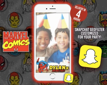 MARVEL Comic Birthday Snapchat Filter, Snapchat Marvel Comic birthday for kids - Thor iron man Captain america Hulk Geofilter Snapchat
