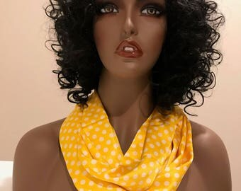 Satin yellow and white polka dot infinity scarf, neck scarves for women, women's gifts, accessories