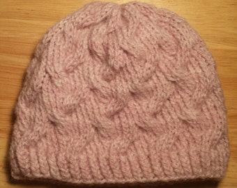 Baby's Knit Hat, Light Heather Rose