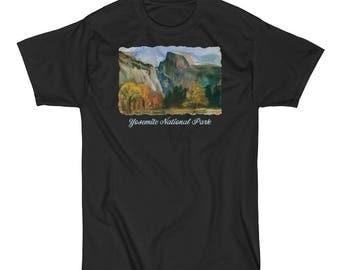 Yosemite Valley, Half Dome, Yosemite National Park, watercolor painting Men's Short Sleeve T-Shirt - size S - 5XL