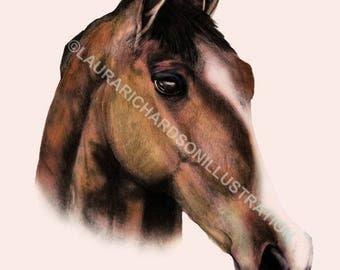 Horse, Illustration, Fine Art print, Giclee print, A4 print