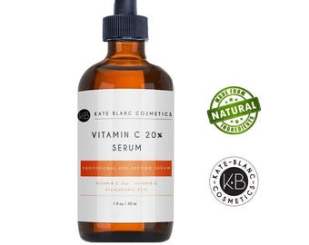 Vitamin C Serum for Face 20% with Hyaluronic Acid & Vitamin E by Kate Blanc. Anti-aging to Reduce Fine Lines/Wrinkles/Dark Spots/Scars/Acne