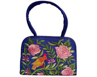 Handicraftsvilla Embroidered Silk Handbag