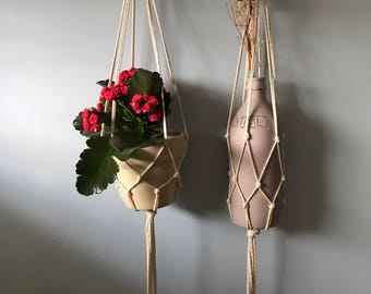 Two pack/ Simple Macrame Plant Hanger- Natural cotton/Perfect for all Pot shapes and sizes!