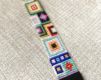Miyuki Bead Bracelet, with a black suede ending / Beaded Bracelet / Miyuki Beads / Miyuki Bead Bracelet / Boho Style / Miyuki Delica