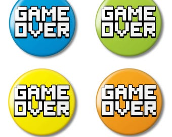 Game Over - Pin Back Button Badge, 25mm (1 inch) Retro Arcade Gaming Novelty Fun Gift