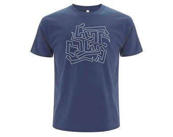 Blue unisex organic cotton T-shirt MIGRATION