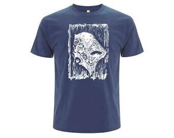 Blue unisex organic cotton T-shirt OKIKO