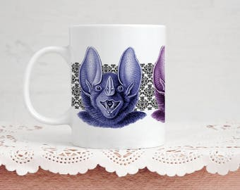 Bat Lover Mug Gift - Spectral Damask Bat - Coffee & Tea 11 Ounce Mug Perfect Present for Vampire Bat Animal Lover Goth Valentine's Day Gift