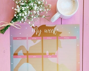 Printable Weekly Planner, Life Planner, Unicorn Planner, 2018 Planner, Weekly Planner, Weekly Diary, Weekly Schedule, A4 Planner