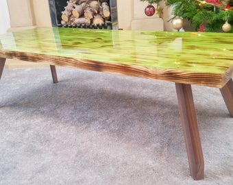 Green Mint Wood and Liquid Glass Coffee Table
