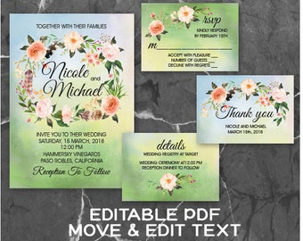 Boho wedding invitation template Floral Watercolor wedding invite Botanical wedding invitation printable Bohemian wedding invite - DIGITAL