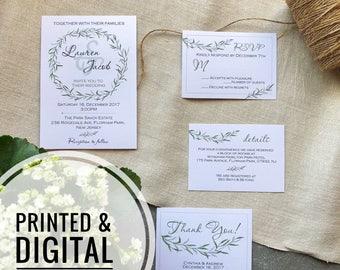 Printed greenery wedding invitation Botanical printed wedding invite Rustic wedding printed invitation template Green boho wedding invite