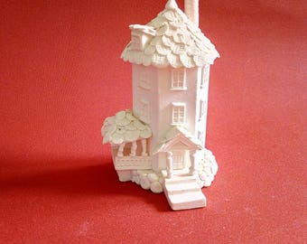 Handmade paper- porcelain miniature of the Moomin house (Muminhuset)