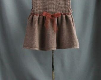 dress for 3-6 months old   cute little brown dress  no sleeves  woolblend dress