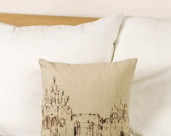 "Drawing on a pillow Moscow Kremlin Russia, 16"" / 40  cm size - Limited Edition of 100"