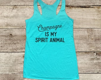 Champagne is my Spirit Animal Bridal shower bachelorette drinking party - funny Soft Tri-blend Soft Racerback Tank fitness gym yoga exercise