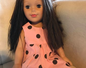Pink and Brown Polka Dot 18 inch American Girl Doll Dress