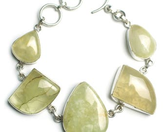 "Big Chunky Prehnite Gemstone Bracelet with Toggle Clasp adjusts from 7 3/4"" to 8 1/4"""