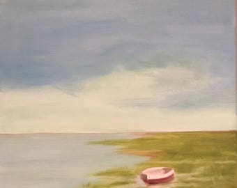 """16""""x20"""" Seascape oil painting on canvas. """"Boat in the Marsh""""."""