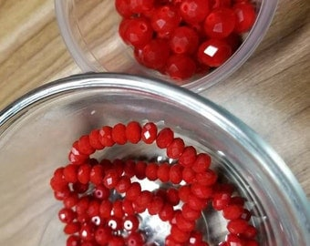 Red beads, Czech, faceted beads, round beads, red glass, glass beads, 6mm, 9mm